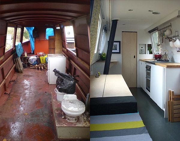 Whole ideas dominique s narrow boat for Narrowboat interior designs