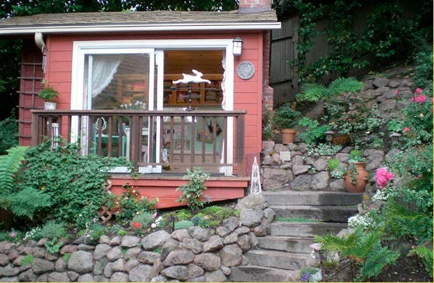 Her Pretty Little Studio Has A Tiny Deck And Even Garden She Said The Prior Owners Of House Built Over An Old Foundation