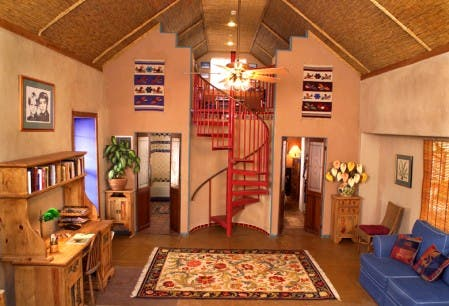 Interior of Carolyn Robert's straw bale house