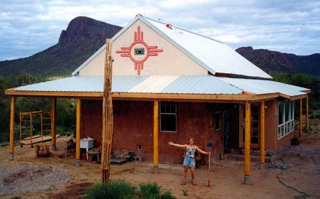 Carolyn Roberts and her straw bale home