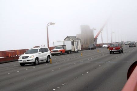 Crossing the Golden Gate Bridge in the fog.