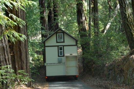 Driving through the redwoods to destination.
