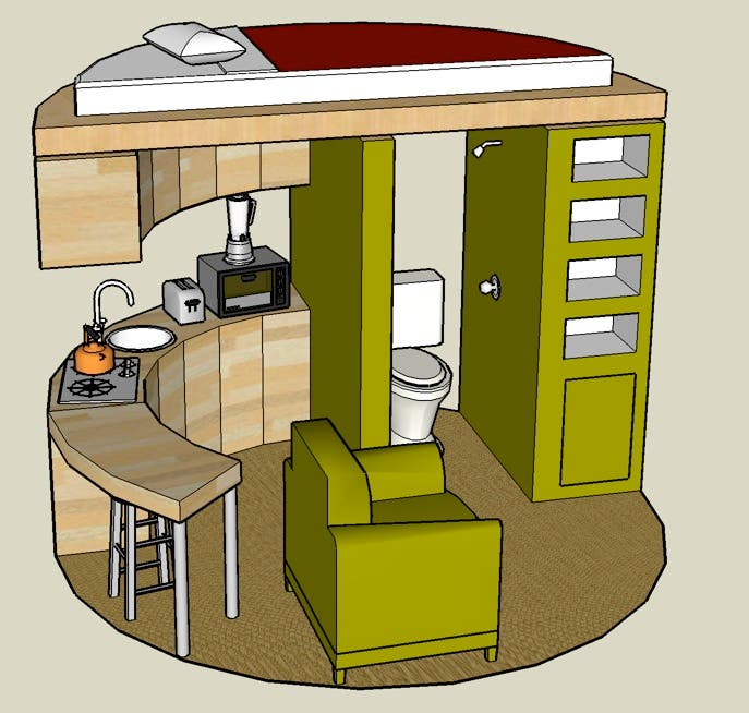 Google sketchup 3d tiny house designs Circle house plans