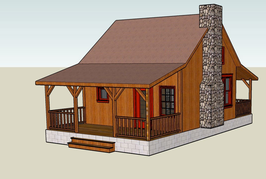 Google sketchup 3d tiny house designs for Small cabin building plans free