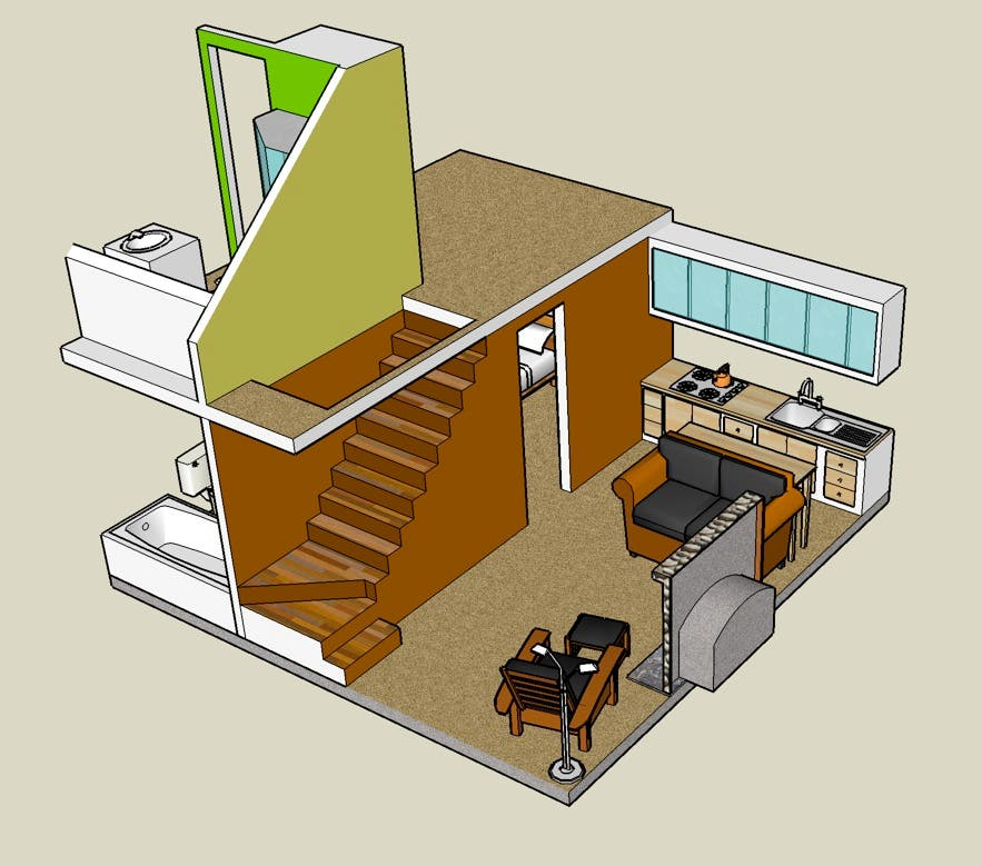 Google sketchup 3d tiny house designs for Tiny house cabin plans