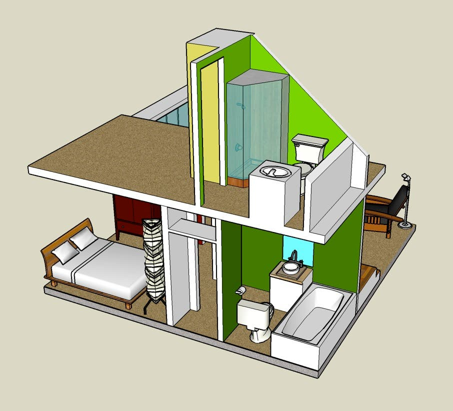 Little Cabin Interior  2 Google Sketchup 3D Tiny House Designs