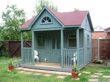 Little house house building tiny houses blue house for Small backyard cabin