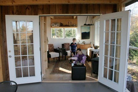 Looking in French Door into the Living Room