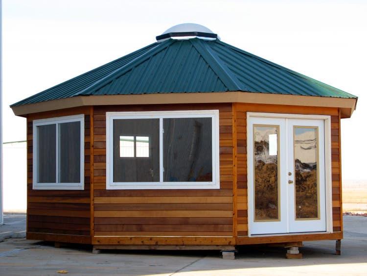Solargon structure s yurt update for Octagonal log cabin plans