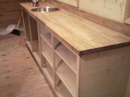 Kitchen counter under construction