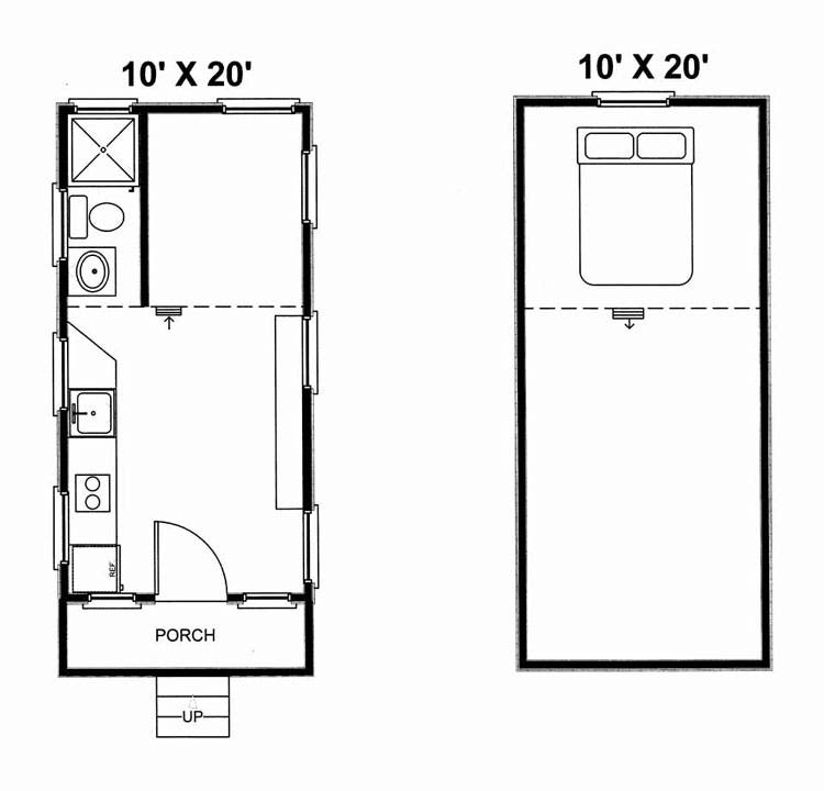 Lodge on wheels sale for 10x20 tiny house floor plans