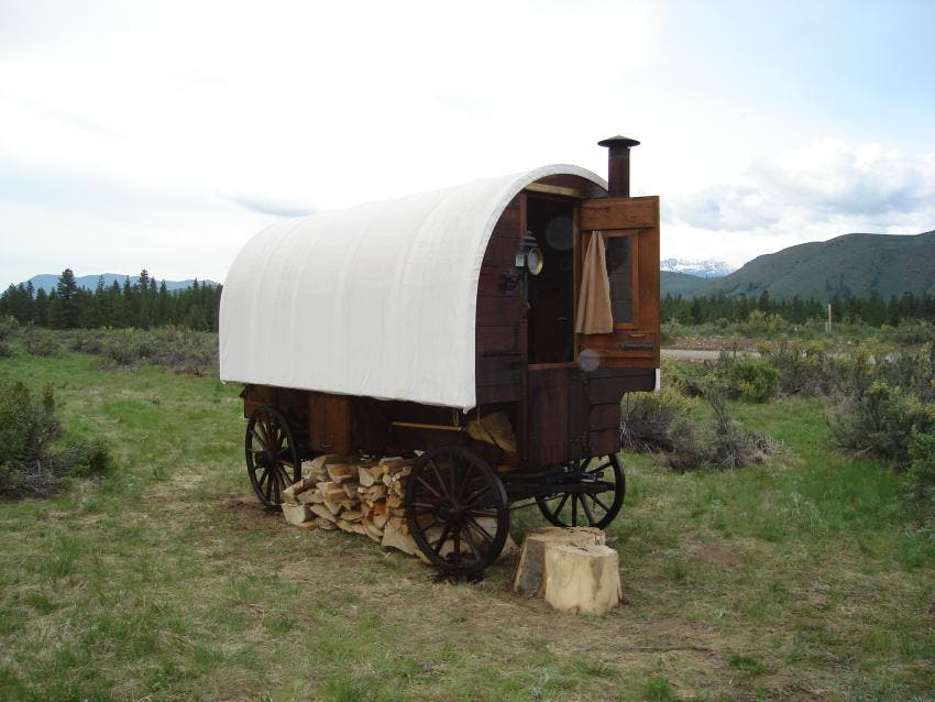 sheep wagons are usually about 7 to 8 feet wide and about 12 to 16 feet long inside the wagon is usually room for one bed or bunks a small stove - Sheep Wagon
