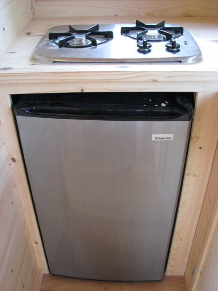 Two-burner stove and refrigerator