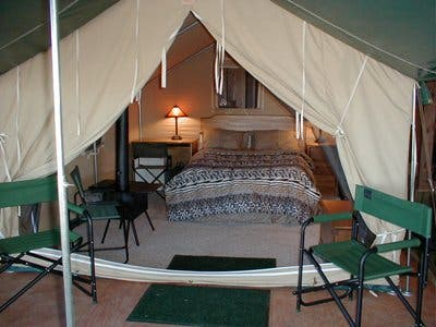 Cabin Tent with Bed and Stove