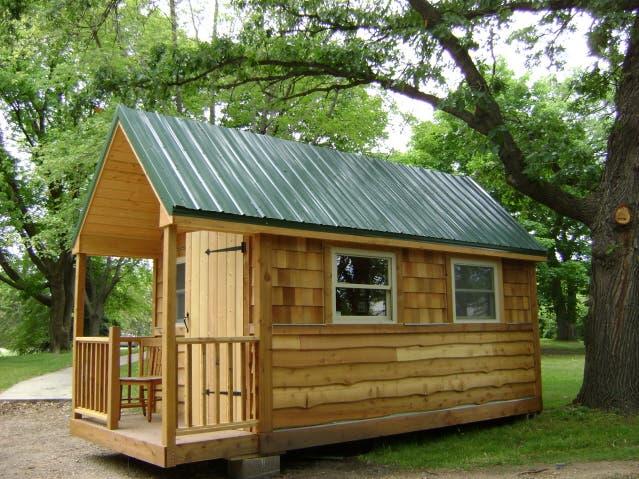 tiny green cabins