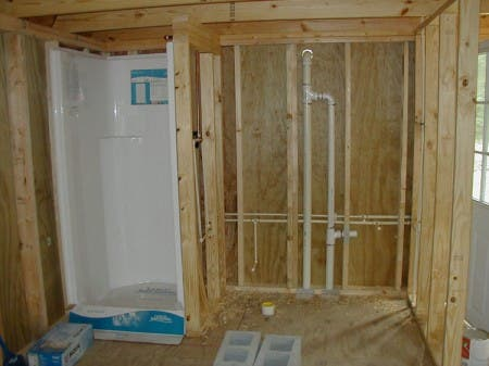 The plumbing has been roughed in with the vents as required.