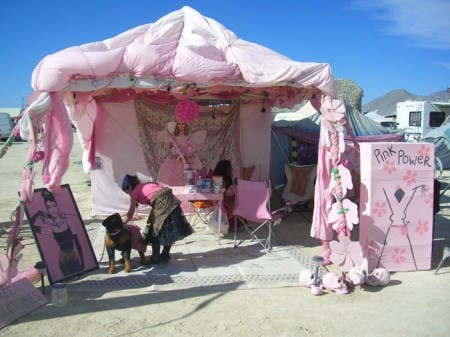 A lovely pink setup at the entrance to Kidsville
