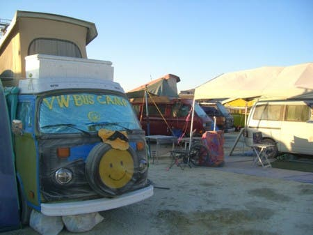 The inhabitants of the VW Bus Camp travel in groups