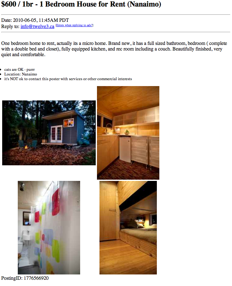 Craigslist Houses For Rent Back: Jame's Twelve Cubed Tiny House For Rent