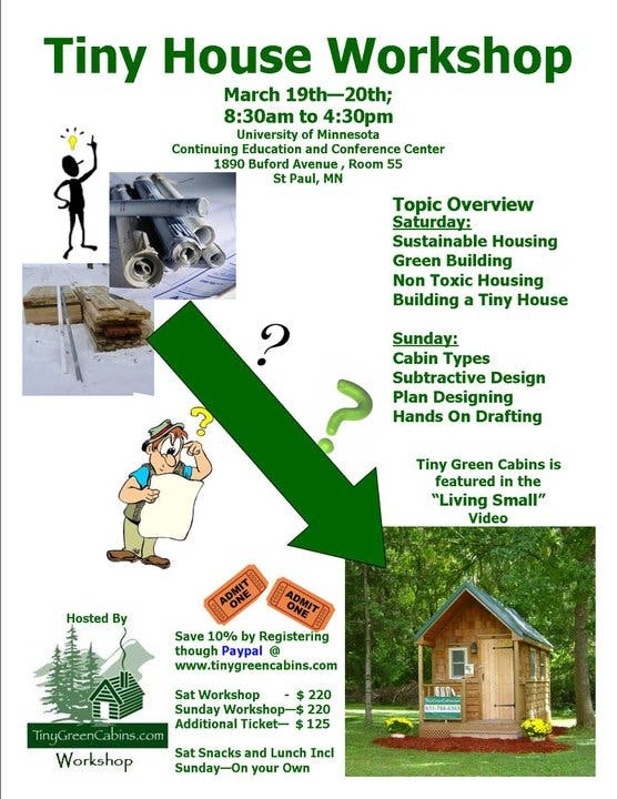 tiny green cabins workshop