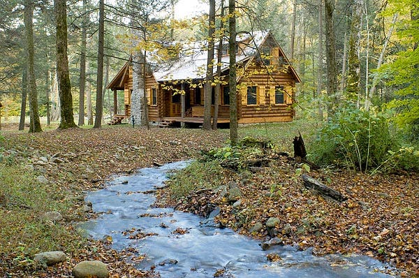 Log Home In The Woods ~ Rustic retreat log cabin in the woods