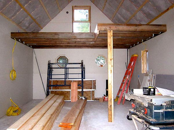 Caleb 39 s small clog guest house for How to build a mezzanine floor in a garage