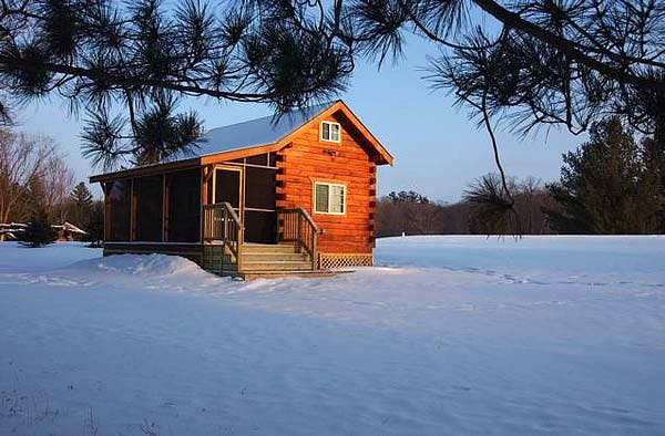 Jon's log cabin in winter