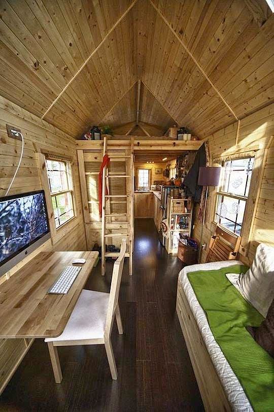 tiny house loft and living area