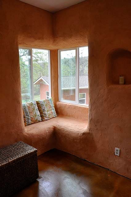 straw bale window seat