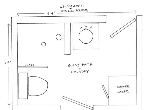 Two bathroom laundry ideas within the footprint of a small for Laundry bathroom floor plans