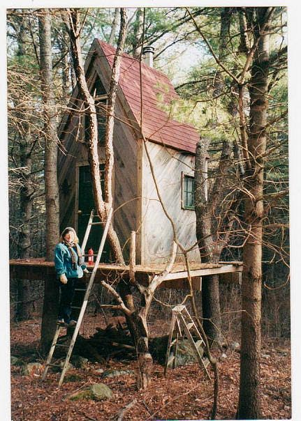 Heather and her tree cabin