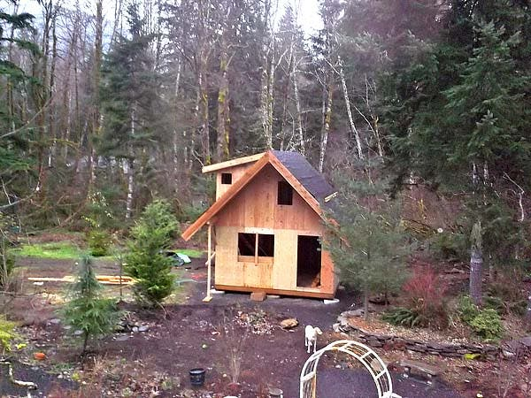 """Getting reading for roofing.  Starting to look like a cabin.  The front of roof has a 3' overhang so there is a dry place to sit.  All eaves are 24"""" to further protect the structure from the ridiculous amount of rain we get."""