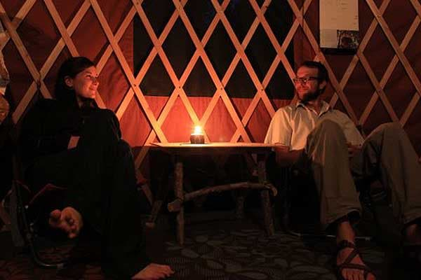 talking inside yurt