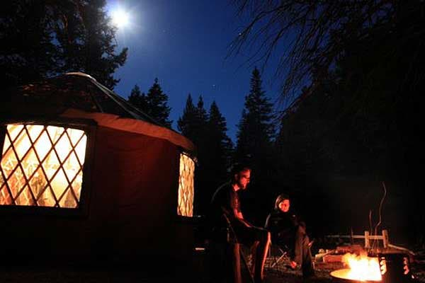 yurt living in the evening