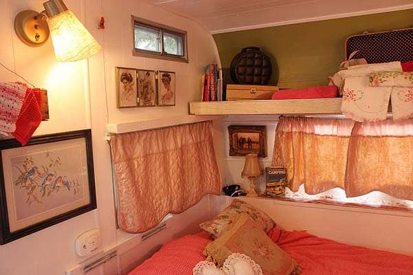 interior of cowgirl vintage trailer