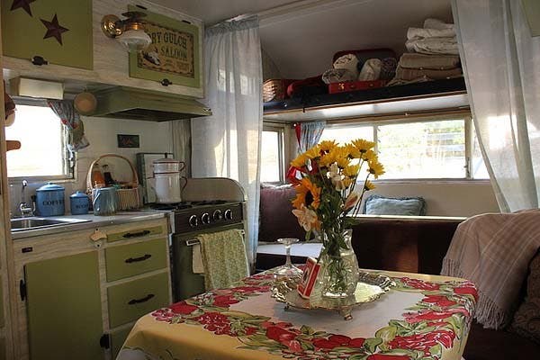 interior of cowgirl green trailer