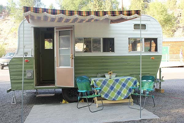 exterior of green vintage trailer