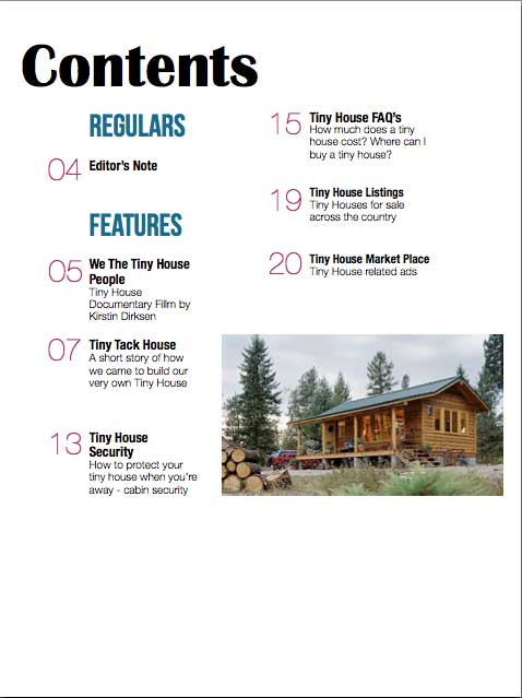 Tiny House Magazine Contents