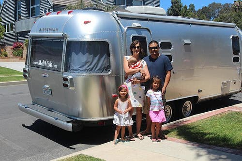 closeup of family and airstream