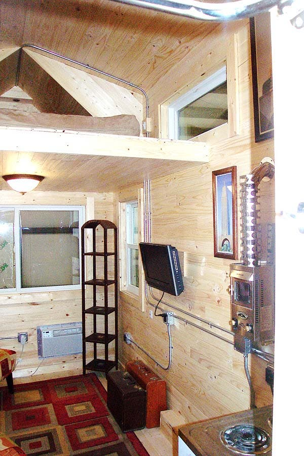 living area and loft tiny house