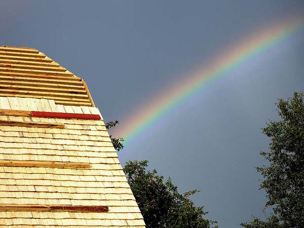 rainbow over roof