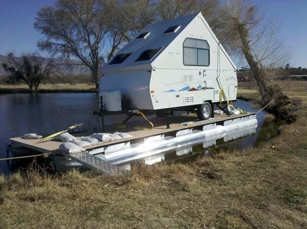 camper set up on boat