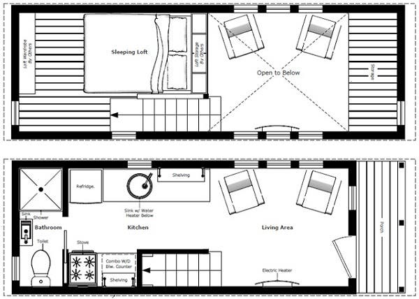 Humble homes tiny house plans for Tiny house trailer floor plans