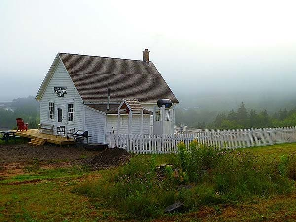 School House Home in the Fog