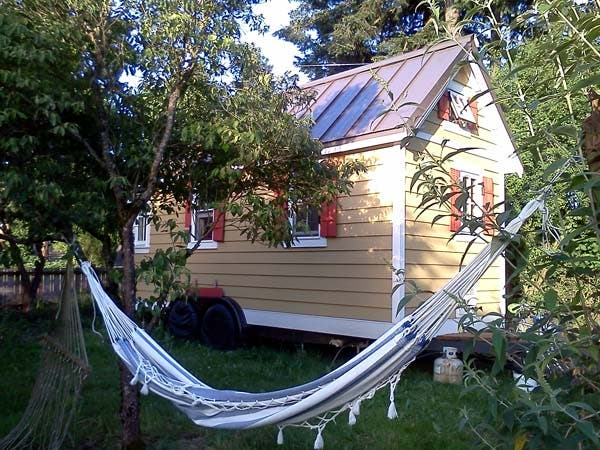 tiny house with hammock