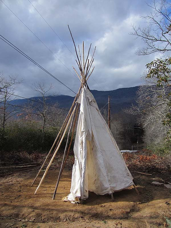 partially set up tipi