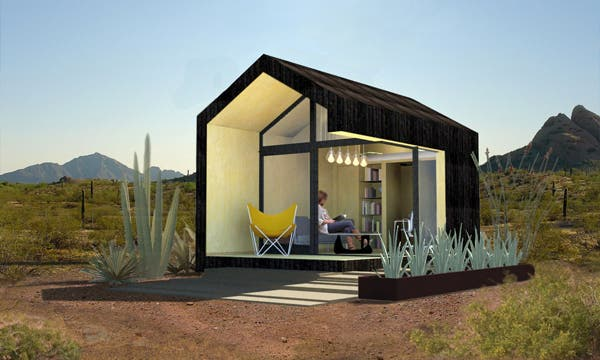 Cinder box microdwelling for Small block homes