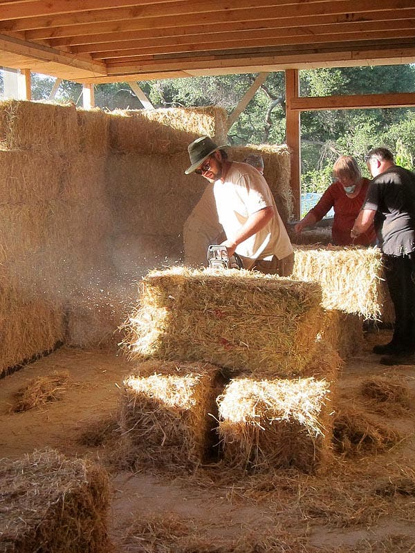 cutting the bales