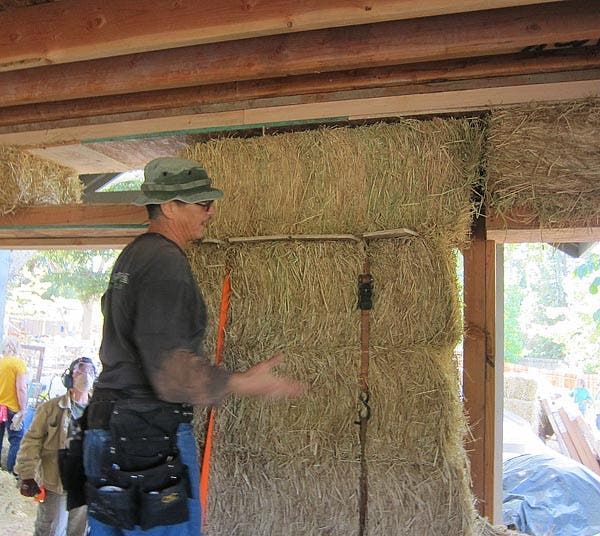 strapping the bales