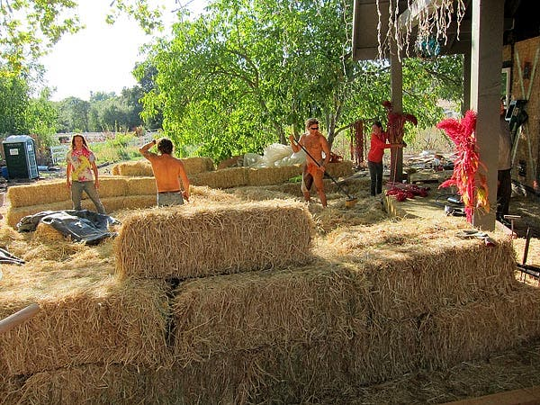 straw bale seating
